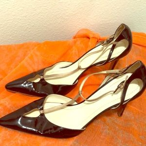 Black patent leather with pink satin trim